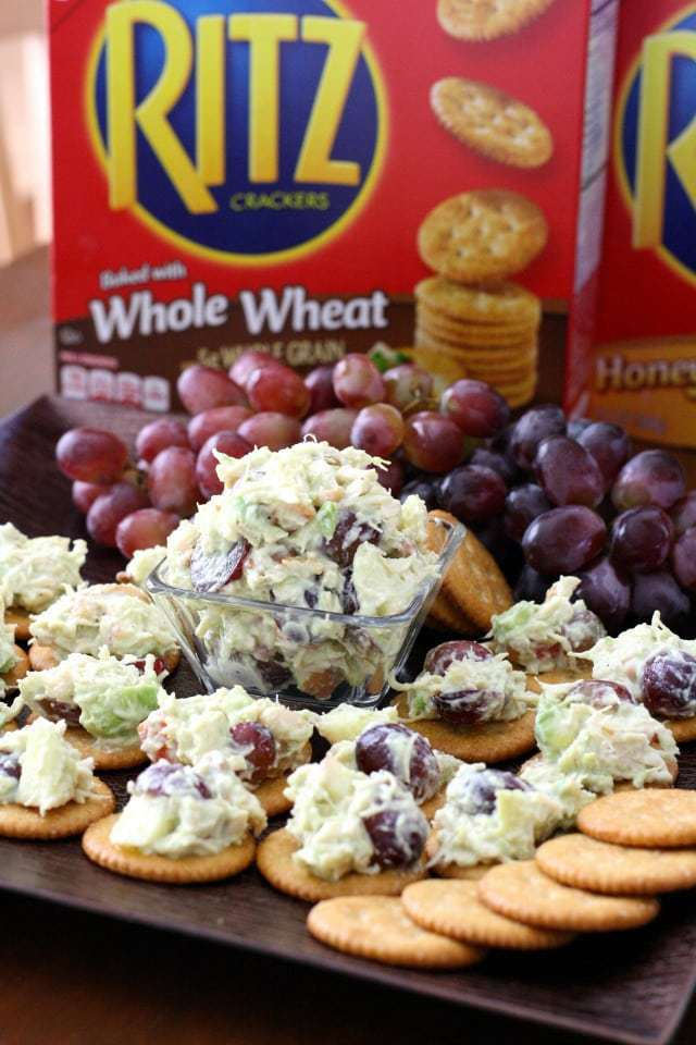 Avocado Chicken Salad topped RITZ® Crackers ~ Butter With A Side of Bread