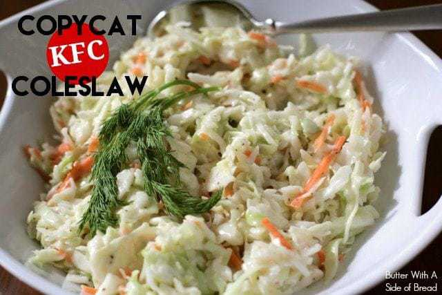 Copycat KFC Coleslaw. Butter With A Side of Bread