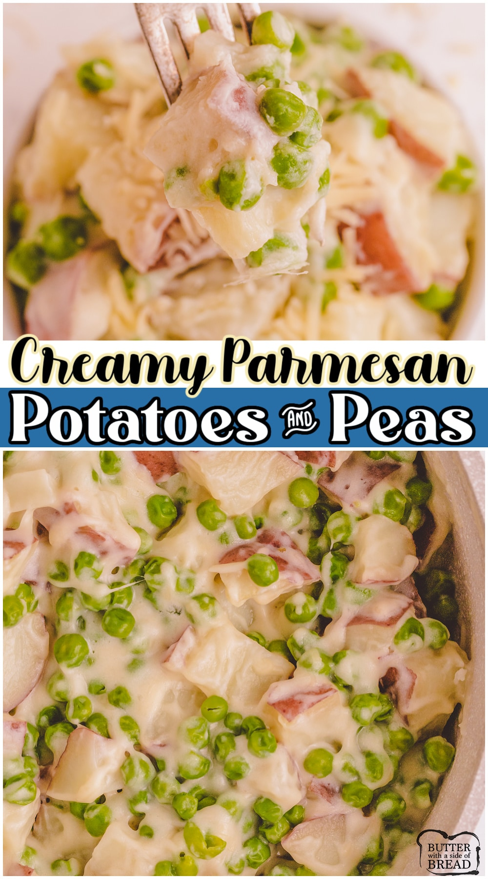 Creamy parmesan potatoes and peas is a simple and delicious side dish that's perfect for any occasion. Old fashioned creamed peas and potatoes recipe made with frozen peas, red potatoes, butter & cheese compliments any main dish perfectly!