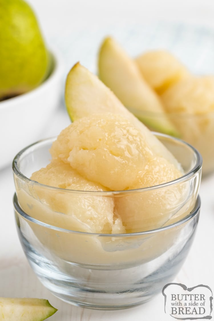 Easy Pear Sorbet is made with fresh pears and just a few other simple ingredients. Only four ingredients for this delicious non-dairy frozen treat - no ice cream maker necessary!