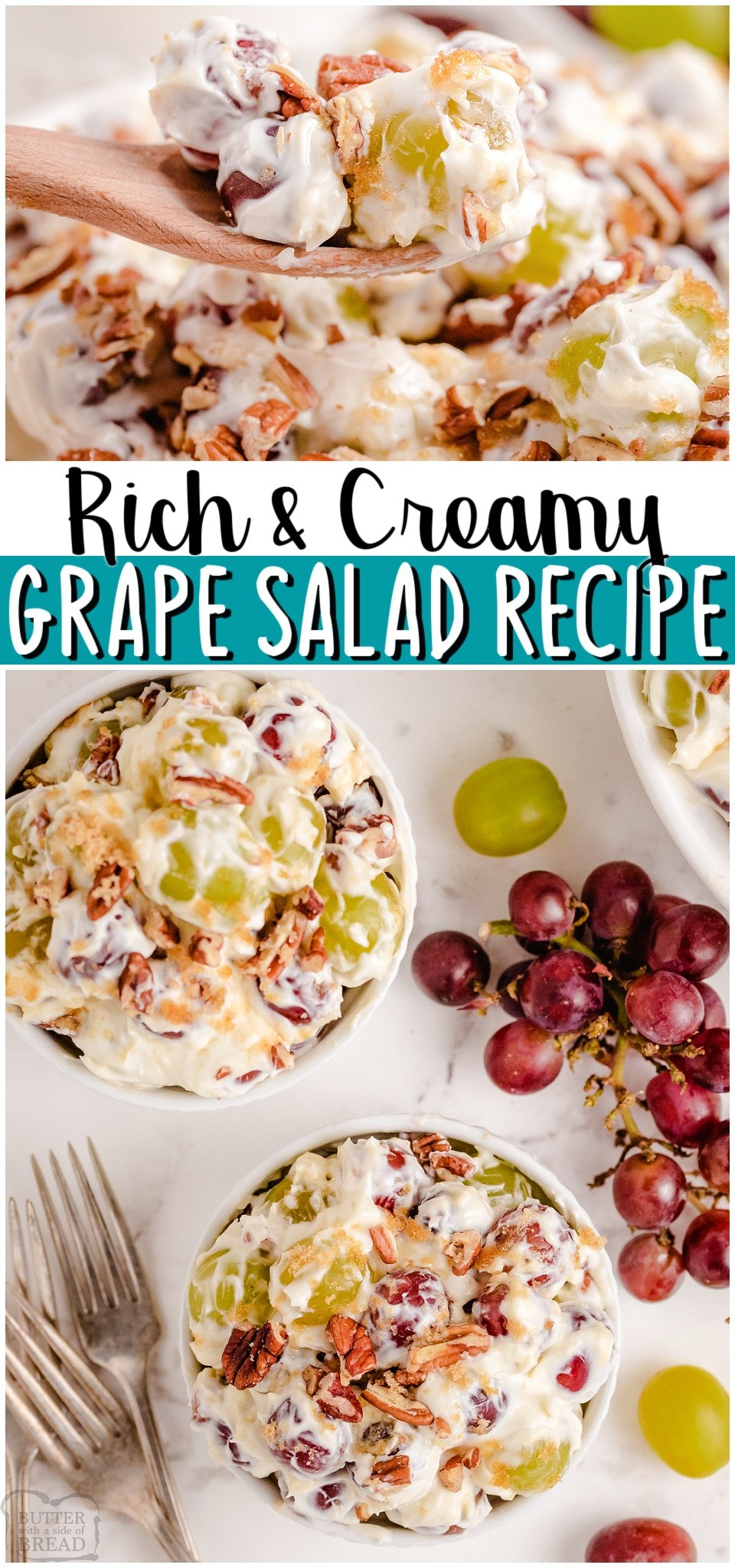 Red and Green Grape Salad tossed with a sweet cream cheese mixture then topped with brown sugar & chopped pecans. Decadent Creamy Grape Salad recipe perfect for special occasions!#grapes #salad #creamcheese #easyrecipe from BUTTER WITH A SIDE OF BREAD