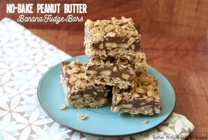 No Bake Peanut Butter Banana Fudge Bars - Butter With A Side of Bread