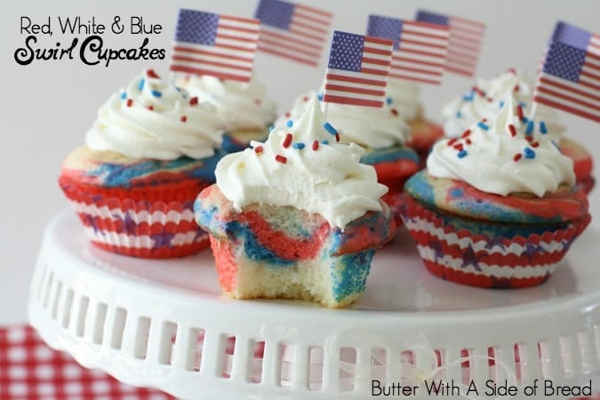 Red White Blue Swirl Cupcakes Butter With A Side Of Bread