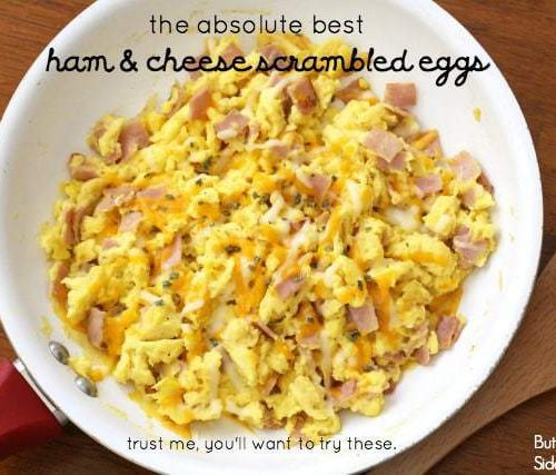 Ham Eggs the best ham cheese scrambled eggs butter with a side of bread