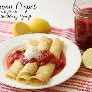 LEMON CREPES WITH STRAWBERRY SYRUP