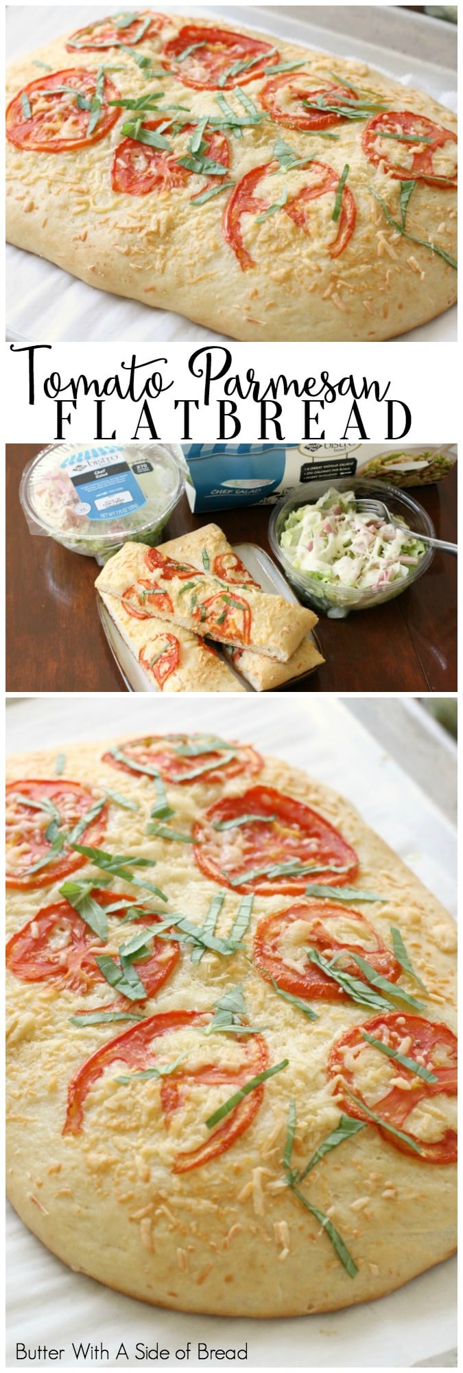 Tomato Parmesan Flatbread recipe made from scratch and topped with fresh tomato, basil and Parmesan cheese. A soft & flavorful bread to go alongside dinner.