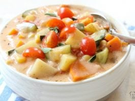 Delicious Summer Vegetable Stew with tomatoes, zucchini, carrots and more. Fresh flavors perfect for a weeknight summer meal when the garden is overflowing.