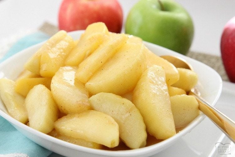 Cinnamon Apples recipe that's simple to make & spiced with cinnamon & nutmeg. Fried with butter & brown sugar, they taste incredible for dinner or dessert!