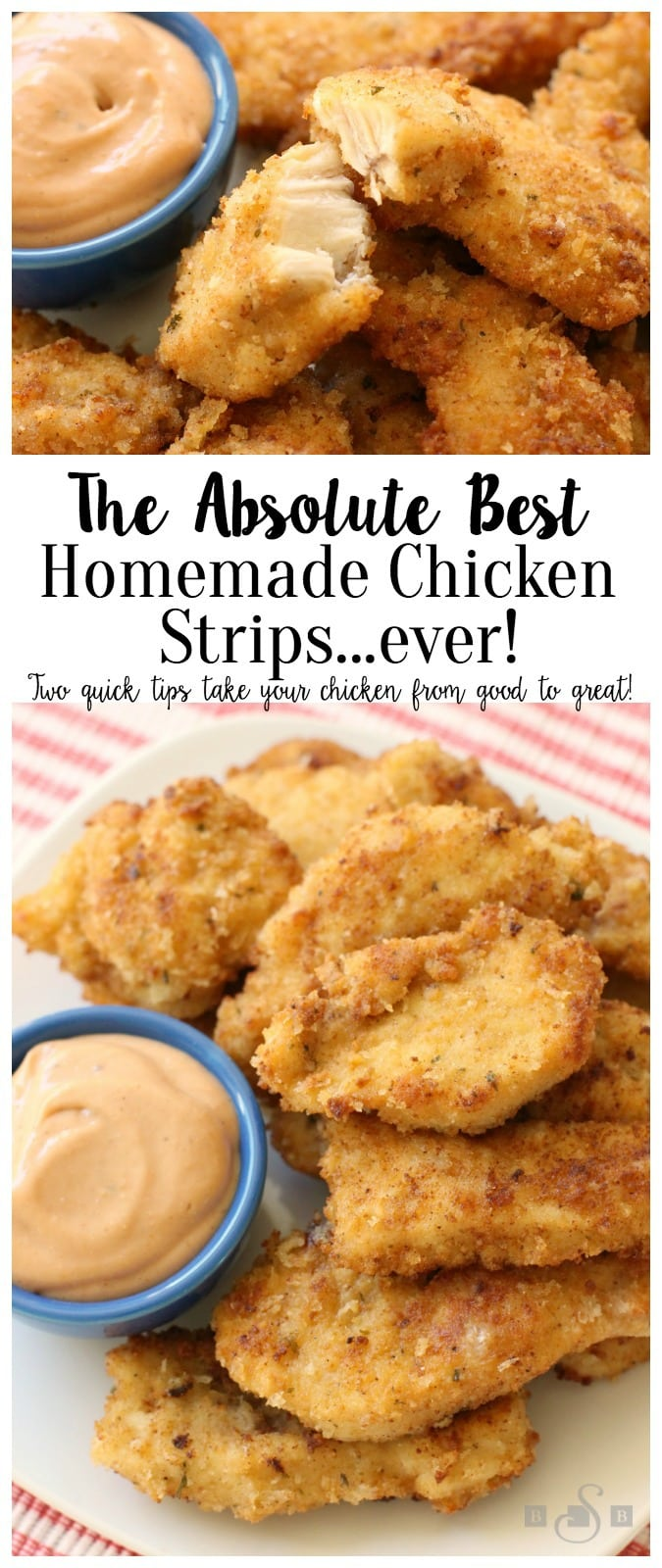 These Homemade Chicken Strips are tender, juicy & flavorful. Easy to ...