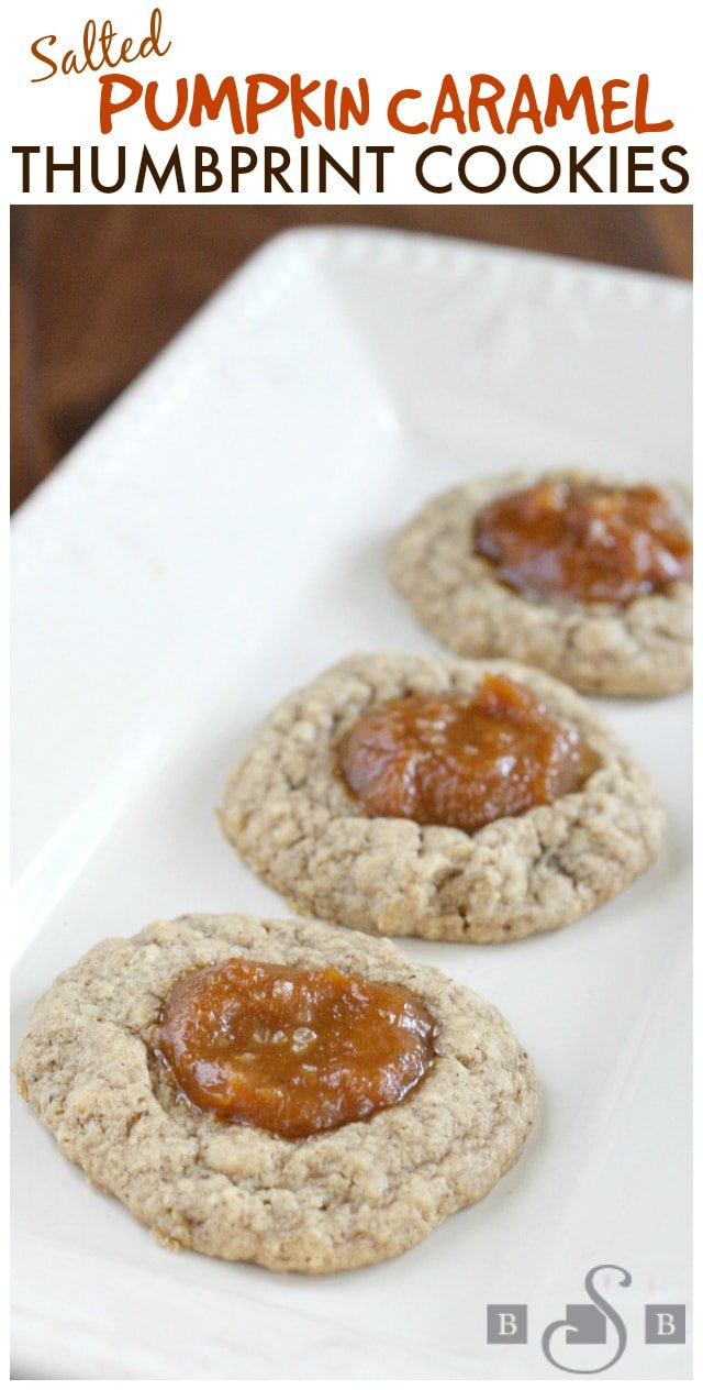 Salted Pumpkin Caramel Thumbprint Cookies - Butter With a Side of Bread