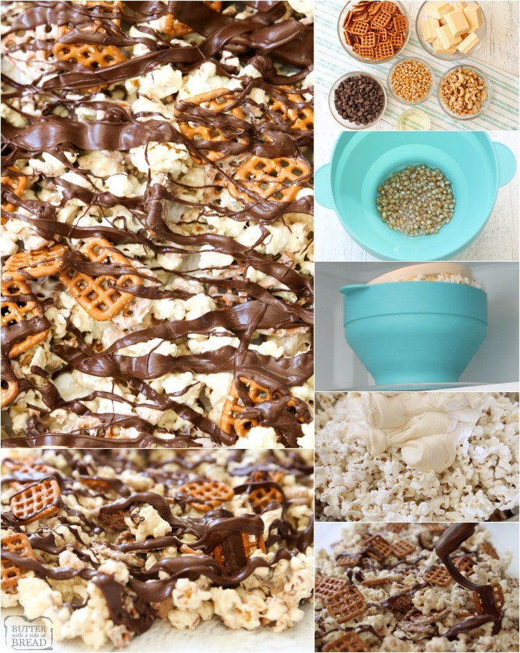 Chocolate Popcorn made with white and semi sweet chocolate, pretzels and cashews! Our easy-to-make white chocolate popcorn recipe is the perfect blend of salty & sweet.