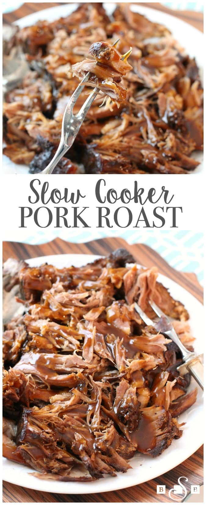 Slow Cooker Pork Roast made with simple ingredients you have in your pantry! Fall-apart tender pork with a flavorful gravy on top make this recipe amazing. Easy #slowcooker #recipe from Butter With A Side of Bread