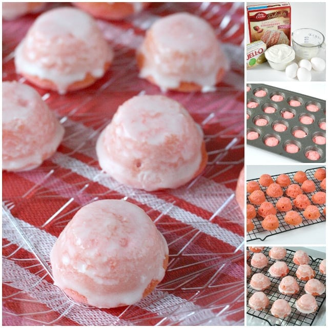 Strawberries and Cream Bites are easy to make because they begin with a cake mix and these tiny little treats are always a hit at parties!