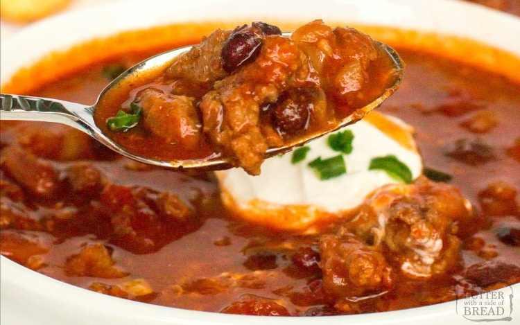 Crockpot Chili recipe made with beef, pork and bacon that has a fantastic bold flavor. This 3 meat slow cooker chiliis thebest chili recipe for cool nights, tailgating, or both.