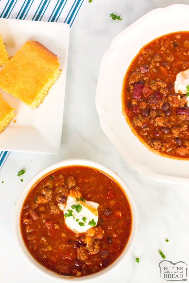 crock pot chili with beef, pork and bacon
