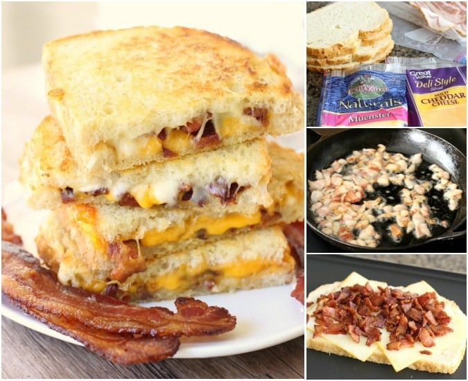 Step by step directions on how to make the easiest Bacon Grilled Cheese sandwich