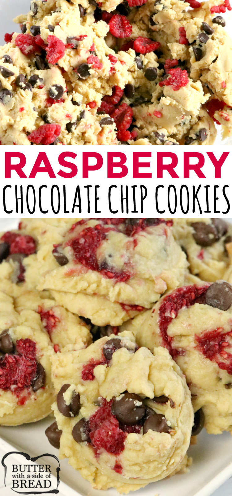 Raspberry Chocolate Chip Cookies are absolutely amazing! Adding fresh raspberries to a classic chocolate chip cookie recipe makes a delicious difference!