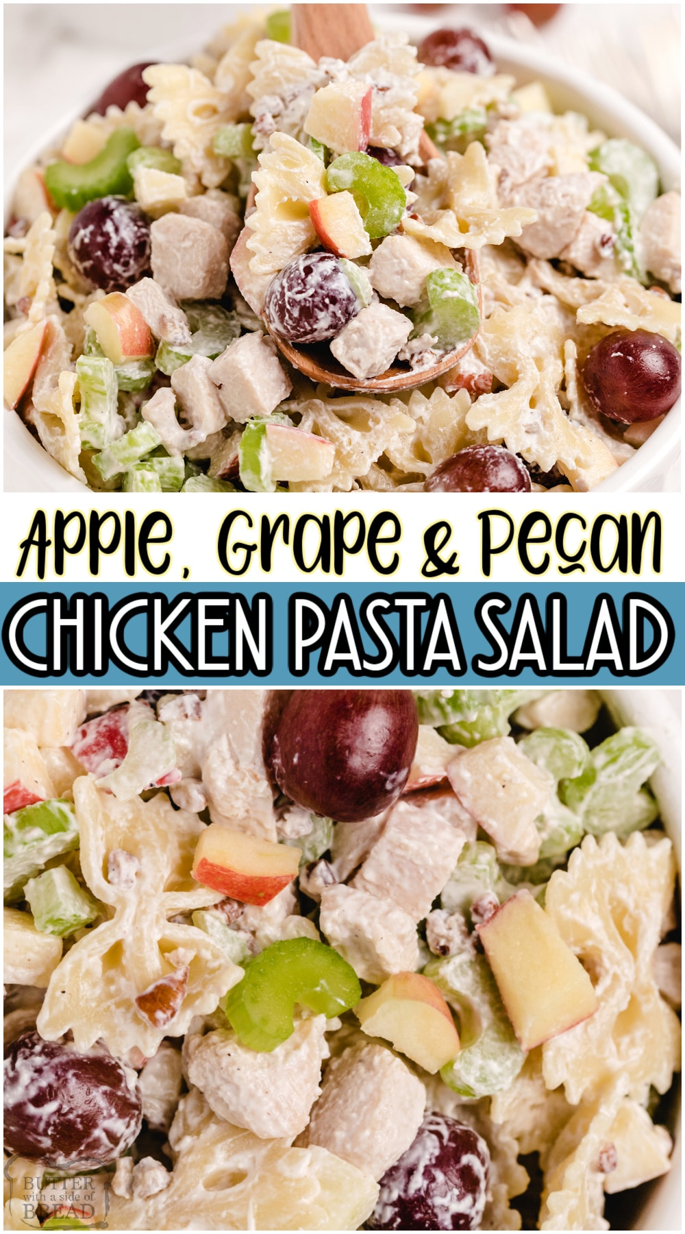 Chicken Pasta Salad is a lovely summer meal filled with tender chicken, apples, grapes, celery & pecans. Our Pasta Salad recipe is topped with a light dressing, grapes & chopped pecans. #pasta #salad #apples #pecans #chicken #easyrecipe from BUTTER WITH A SIDE OF BREAD
