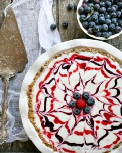 red white blueberry ice cream pie