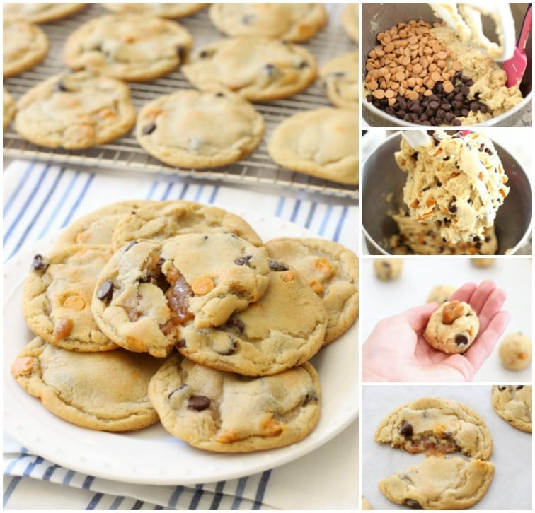 Caramel Stuffed Chocolate Chip Cookies.BSB.Collage