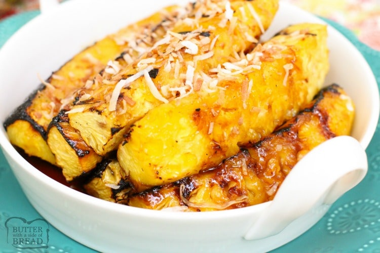 Grilled Pineapple with Coconut glaze is a fantastic side dish or dessert! Made easy with coconut, brown sugar and fresh pineapple, this is the best grilled pineapple I've tasted!
