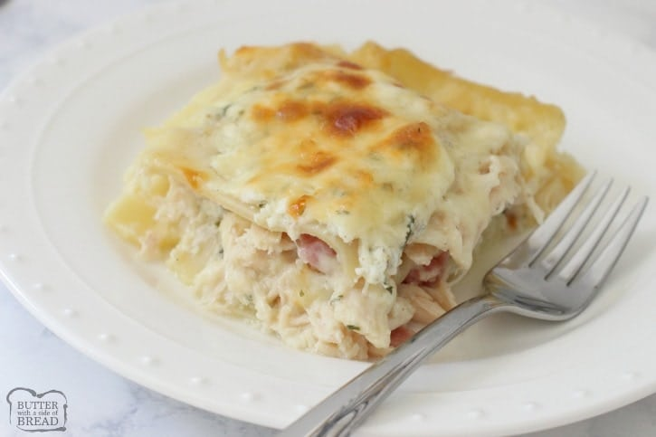 Chicken Cordon Bleu Lasagna made with juicy chicken & ham combined with noodles & four cheeses to make this creamy, flavorful lasagna recipe.