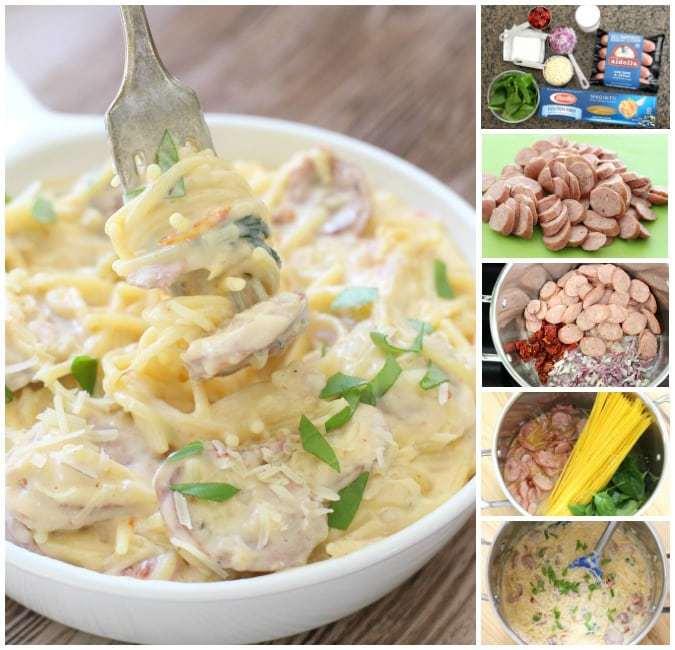 Creamy One Pot Sausage Spaghetti.BSB.Collage