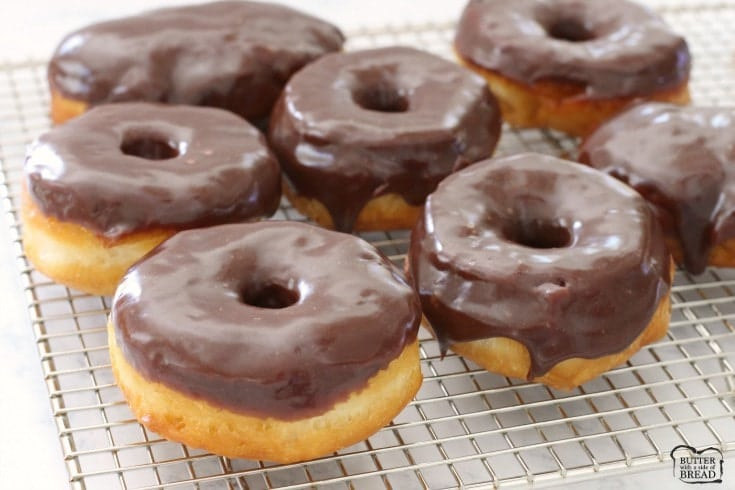 Easy 15 minute chocolate glazed donuts butter with a side of bread