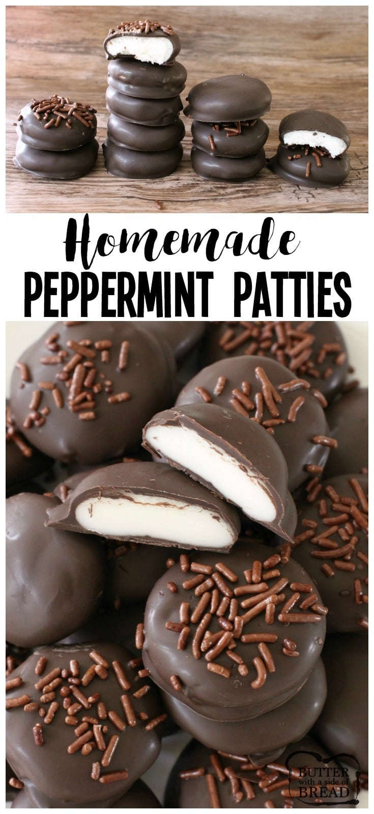 Easy Homemade Peppermint Patty recipe with just a handful of ingredients! Copycat York Peppermint Patties but BETTER. Simple soft, sweetened mint candy covered in chocolate for a delicious, easy peppermint patty candy. #peppermint #candy #chocolate #recipe #food #dessert