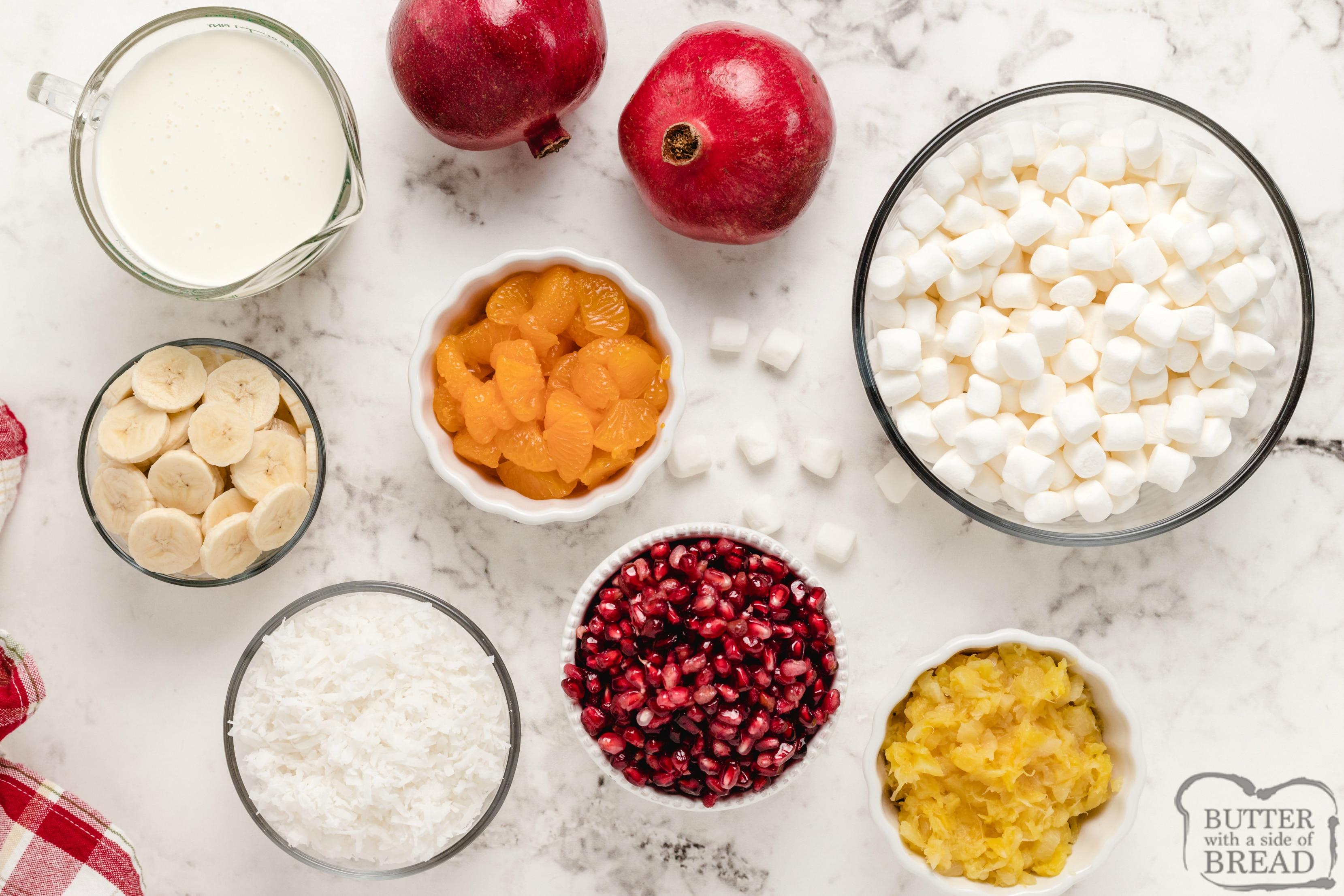 Ingredients in fruit salad recipe