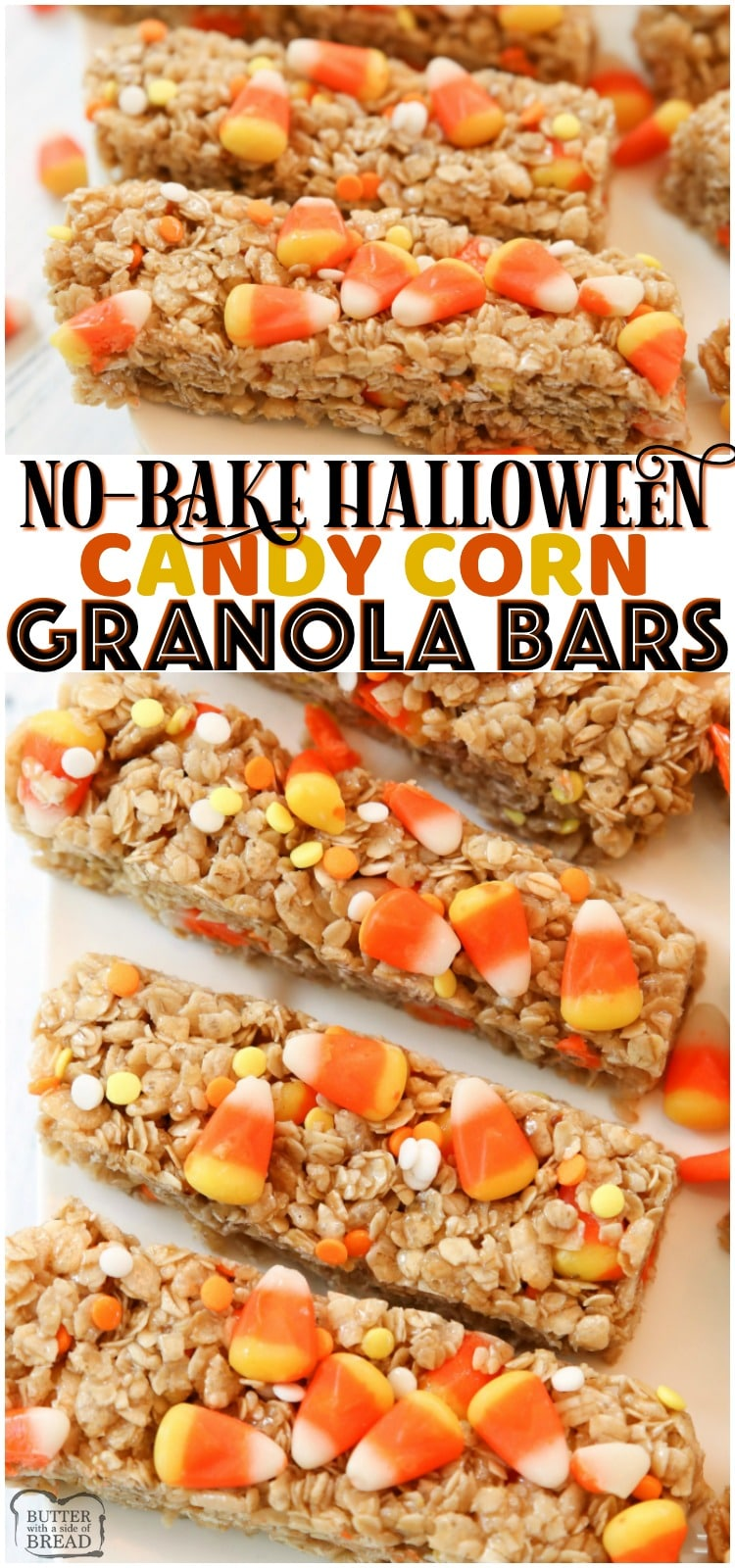 Quick & Easy Candy Corn Granola Bar recipemade in minutes. Perfect Halloween snack! Simple ingredients combined to make a tasty homemade granola bars.