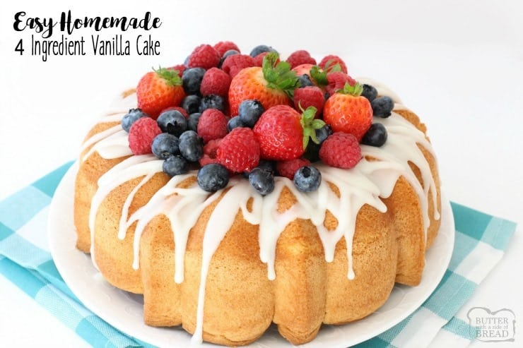 Homemade Vanilla Cake is the easiest homemade cake recipe ever! Just 4 ingredients you likely