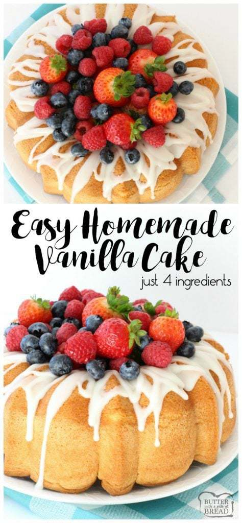 Homemade Vanilla Cake Is The Easiest Recipe Ever Just 4 Ingredients It Tastes Divine