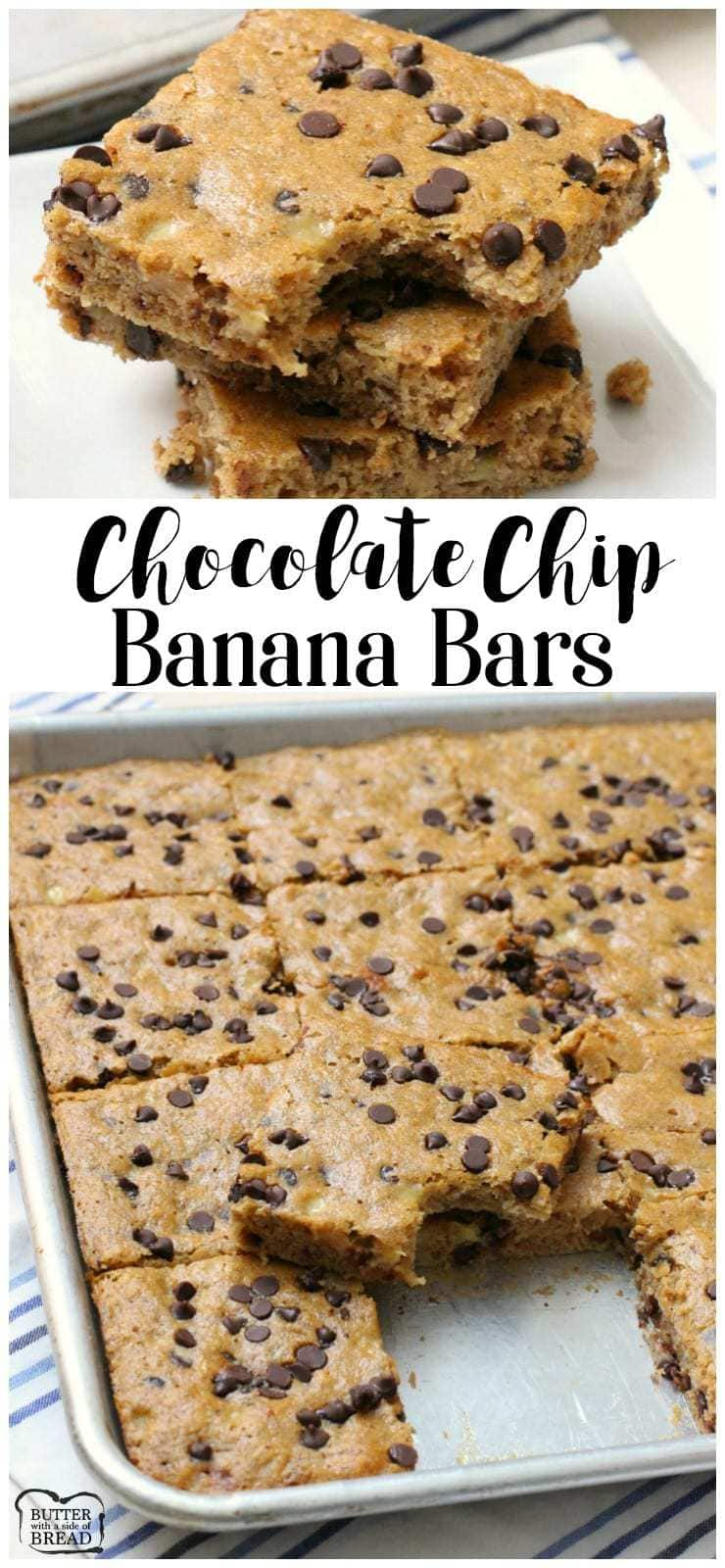 Chocolate Chip Banana Bars Butter With A Side Of Bread Choco Chips Are Delicious Filling And Perfect For Any Time Packed