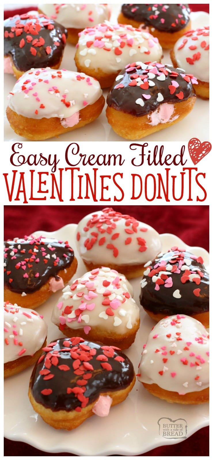 Easy 20-Minute Cream Filled Valentines Donuts - Butter With A Side of Bread