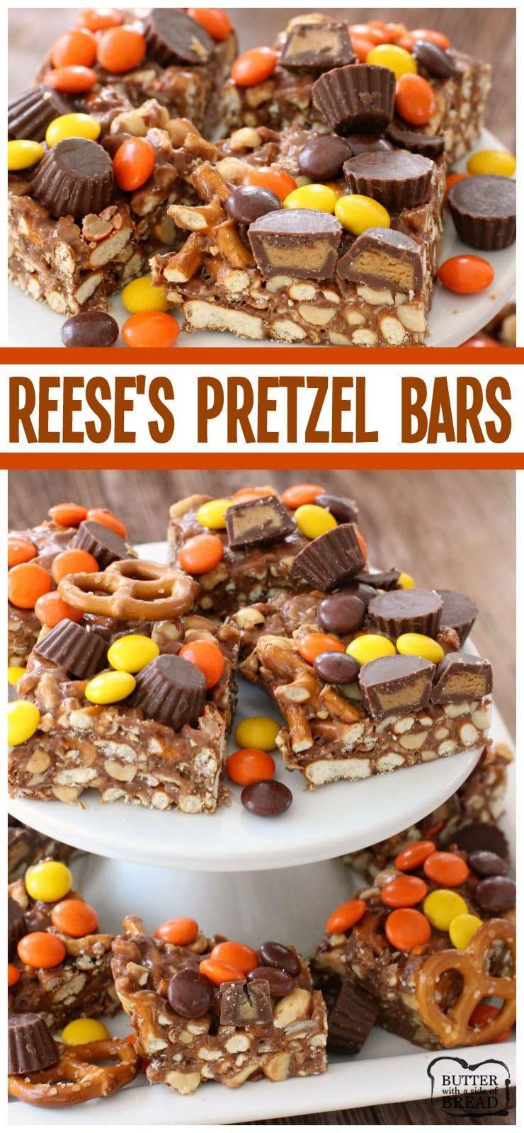 Easy-to-make Reese's Pretzel Bars are perfect for anyone who loves a sweet & salty combination! Dessert recipe- Butter With A Side of Bread