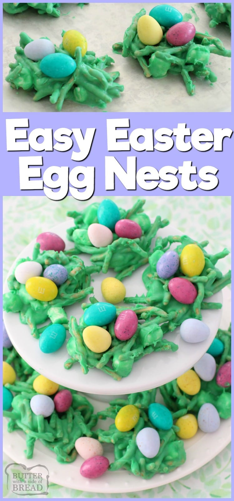 Fun & festive Easter Egg Nests recipe using white chocolate, marshmallows and chocolate eggs of course! Simple dessert recipe by Butter With A Side of Bread