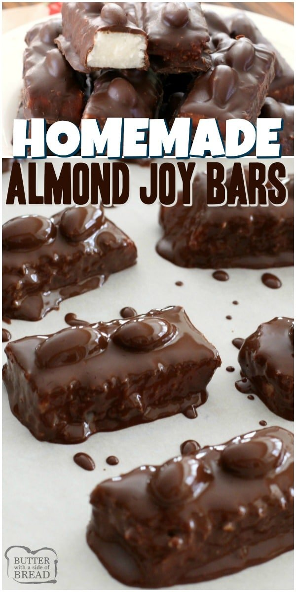 Homemade Almond Joy Bars with sweet coconut, sugar, coconut oil & dark chocolate. Topped with almonds & more chocolate for a melt-in-your-mouth treat.