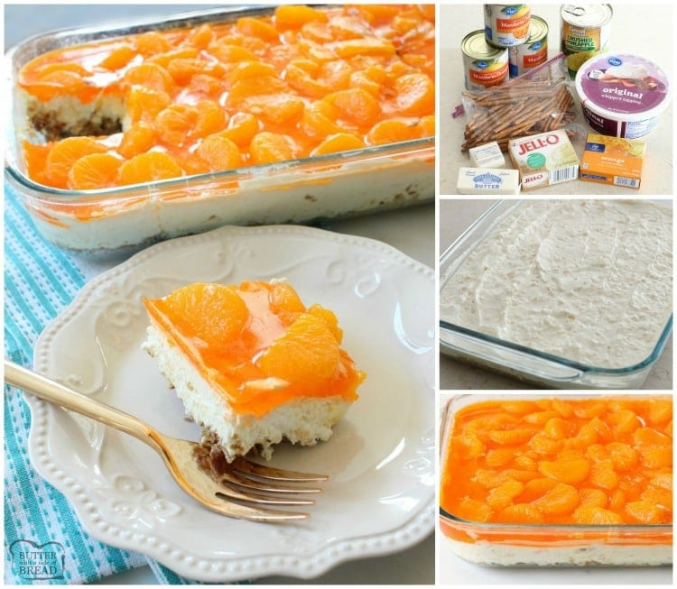 Tropical Jello Pretzel Salad Is A Combination Of Orange Pineapple And Coconut Flavors All In