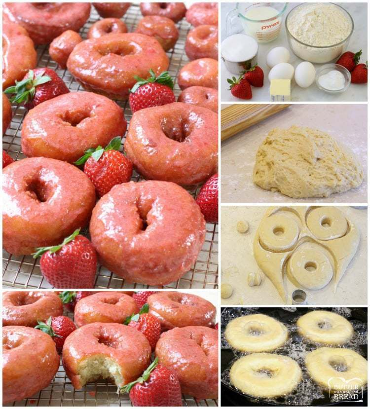 How to make Easy Homemade Strawberry Glazed Cake Donuts