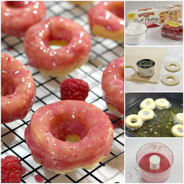 Raspberry Puff Pastry Donuts only take 10-15 minutes to make and the fresh raspberries in the icing give the most amazing flavor to this delicious treat!