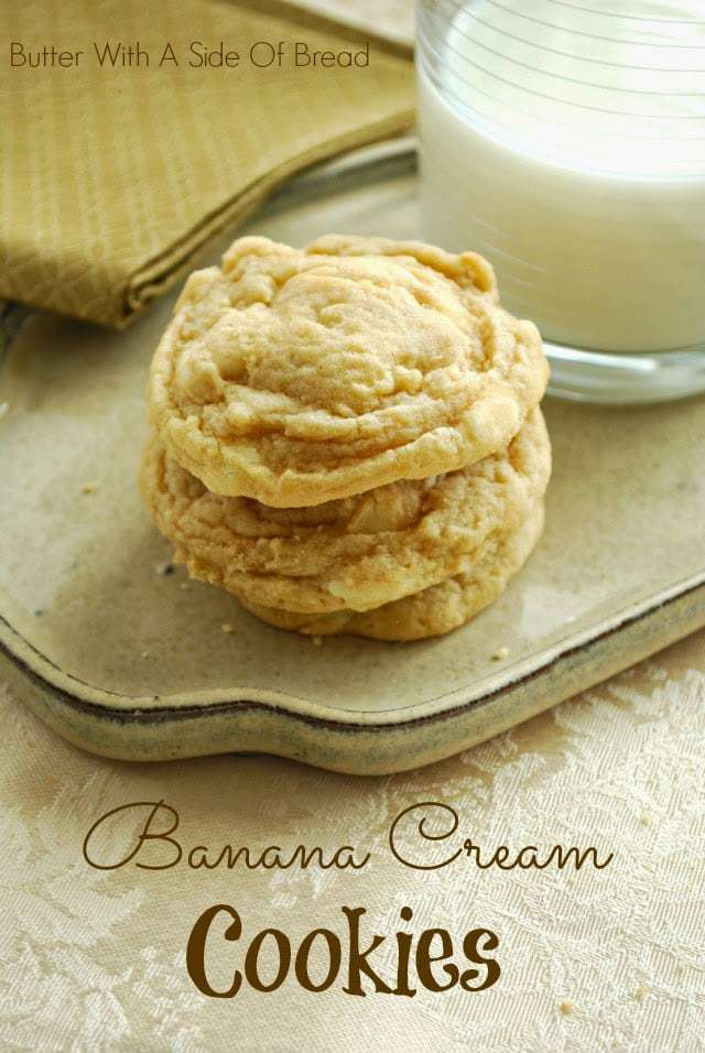 Banana Cream Cookie recipe incorporates banana pudding mix & banana into delectable cookies! Simple recipe for soft, flavorful & perfectly sweet cookies. If you love banana cream pie, you've got to try these cookies!