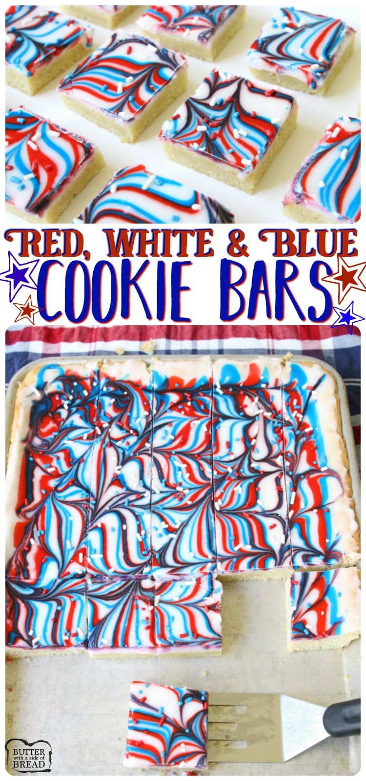 EASY & Fun Patriotic Cookie Bars recipe made with swirled red, white & blue icing making them perfectly festive! Easy sugar cookie bar recipe for 4th of July & Memorial Day from Butter With A Side of Bread.