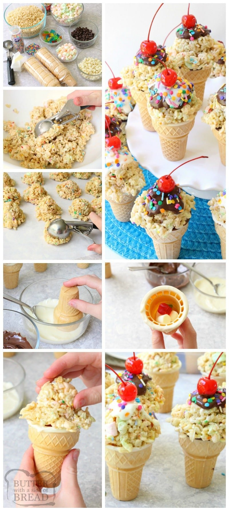 Rice Krispie Ice Cream Cones are easy to make & super cute too! Gooey marshmallow treats topped with melted chocolate, sprinkles & a cherry make these cute cones amazing. Bonus too- they each have a special treat inside the cone!