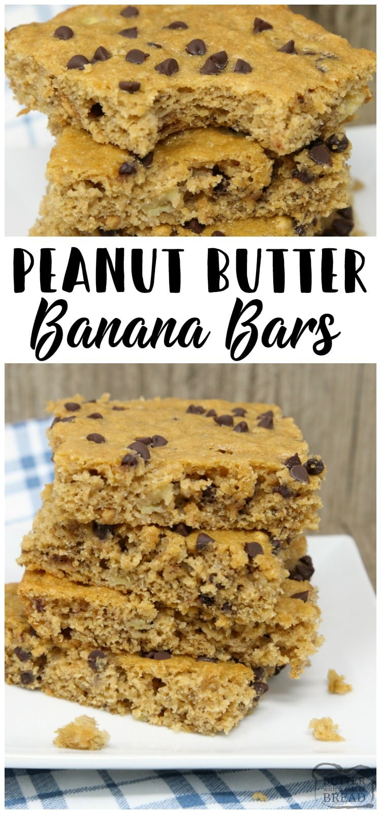 Peanut Butter Banana Bars are packed with bananas, whole wheat flour, peanut butter and chocolate chips. Perfectly sweet, filling & satisfying snack!