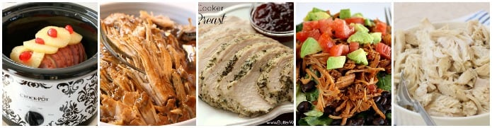 Best Crock Pot Recipes: Slow Cooker Ham, Best Crock Pot Pork Roast, Slow Cooker Turkey Breast, Crock Pot Sweet Pork, Slow Cooker Shredded Chicken