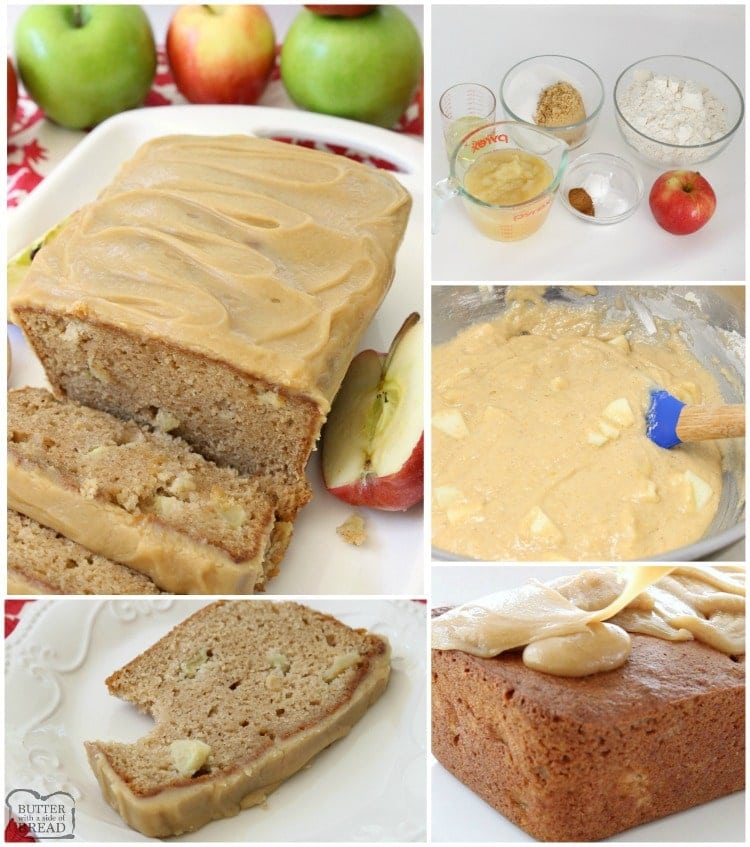 Caramel Apple Bread bursting with fresh apple, spiced with cinnamon and nutmeg, then topped with an incredible 3 ingredient caramel glaze topping.