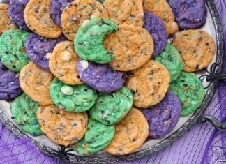 Funfetti Halloween Cookies are tasty & spooky treats made colorful with festive sprinkles baked into each cookie. We added pudding mix for texture and color for FUN!
