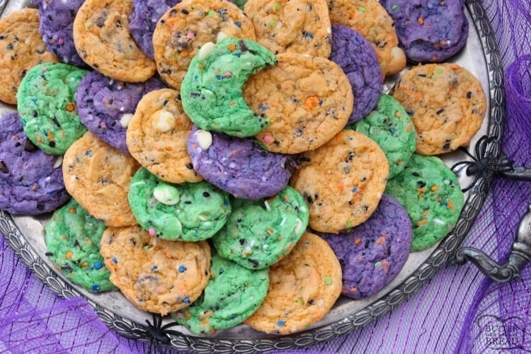Funfetti Halloween Cookies are fun & spooky treats made colorful with festive sprinkles baked into each cookie. We added pudding mix for the best texture!