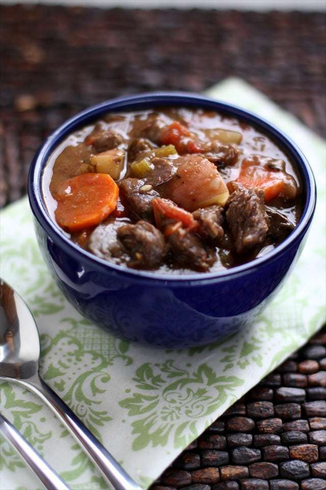 Crockpot Beef Stew is our favorite beef stew recipe ever! It's loaded with vegetables and brimming with tender chunks of beef. Comfort food at its finest!